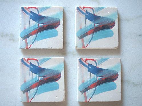 Set of 4 Marble Art Coasters -Positivity