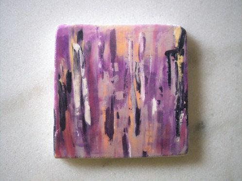 Set of 4 Marble Art Coasters - Purple Bamboo