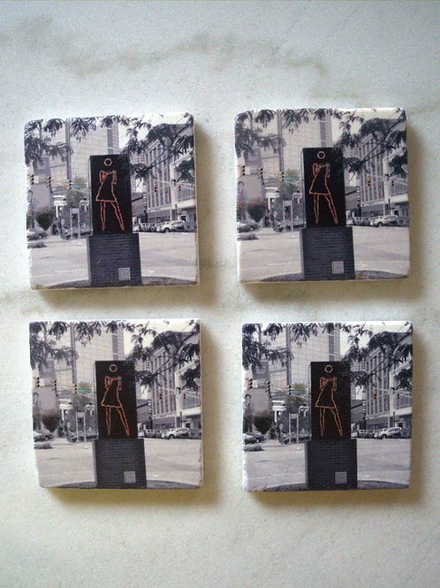 Set of 4 Marble Art Coasters- Dancing Girl