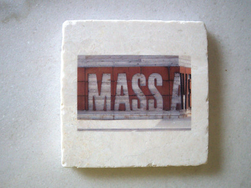 Single Marble Art Coasters- Mass Ave (Small Sign)