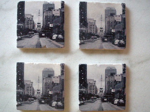 Set of 4 Marble Art Coasters- Indy Rain