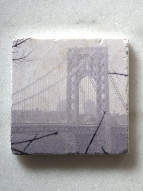 Single Marble Art Coaster- GW Bridge (NYC)