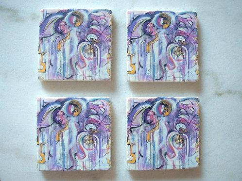 Set of 4 Marble Art Coasters - Favorite