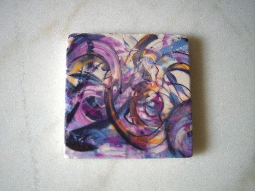 Single Marble Art Coaster -Raspberry Swirl