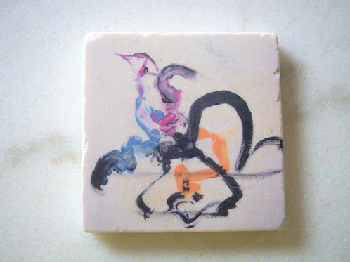 Single Marble Art Coaster- Birdie