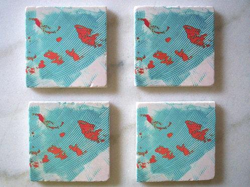 Set of 4 Marble Art Coasters -Turquoise