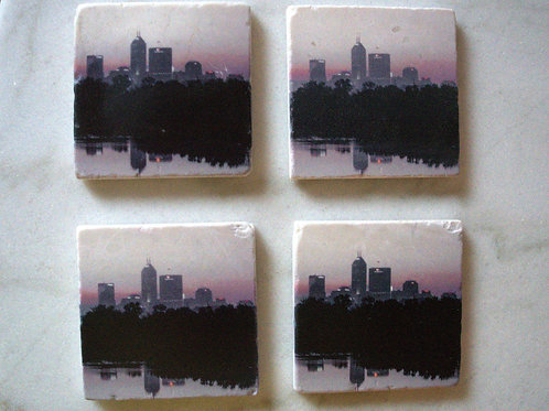 Set of 4 Marble Art Coasters- Indy At Dawn