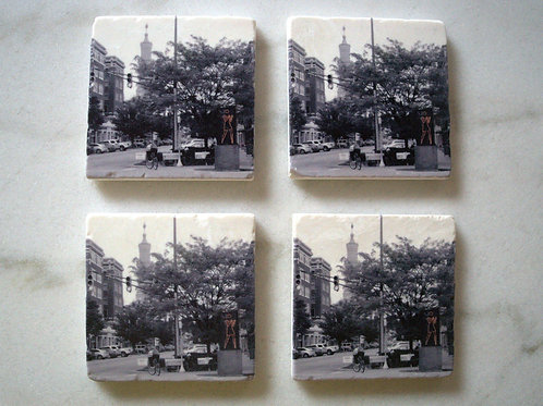 Set of 4 Marble Art Coasters- Mass Ave View