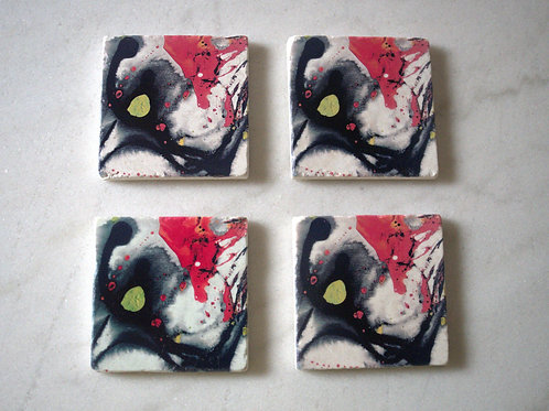 Set of 4 Marble Art Coasters- Abstract Red