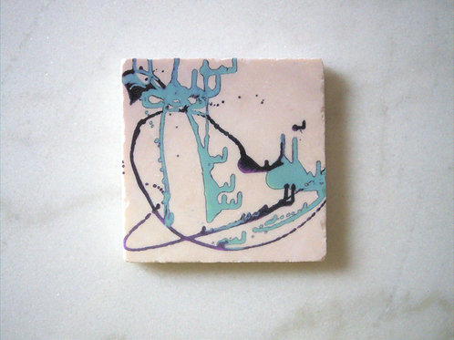 Set of 4 Marble Art Coasters -Ink