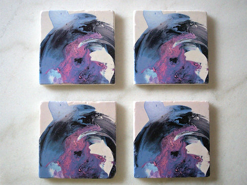 Set of 4 Marble Art Coasters- Blue motions