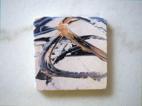 Single Marble Art Coaster - Blue Gold