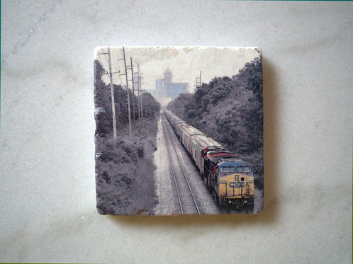 Set of 4 Marble Art Coasters- Indy Train
