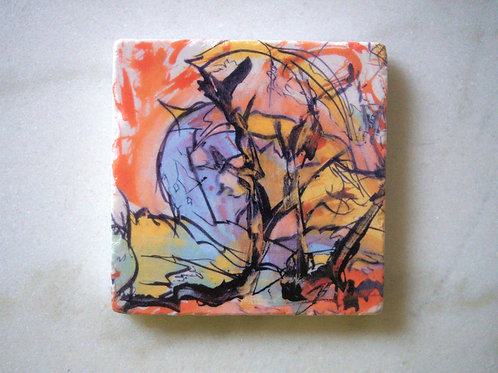 Single Marble Art Coaster - Spring