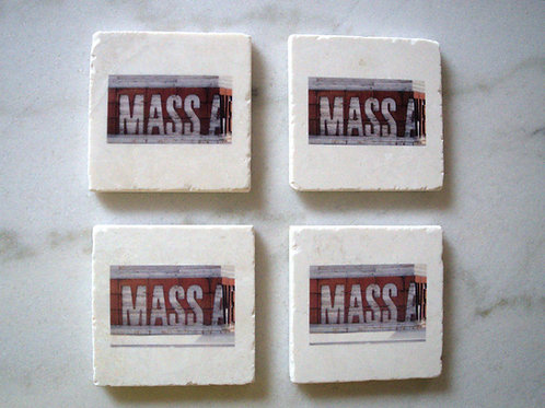 Set of 4 Marble Art Coasters- Mass Ave (Small Sign)