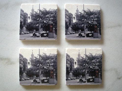 Set of 4 Art Coasters - Mass Ave View