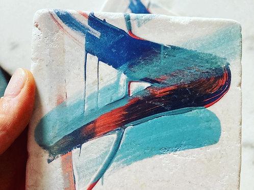 Single Marble Art Coaster- Positivity