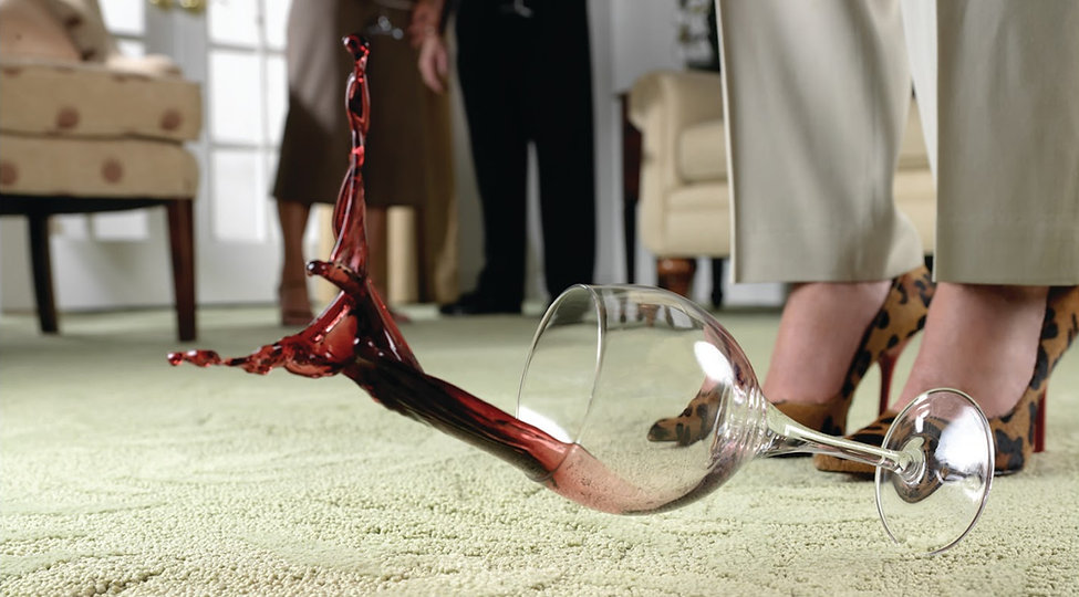 red wine glass dropped