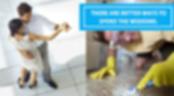 dancing and cleaning tile floor