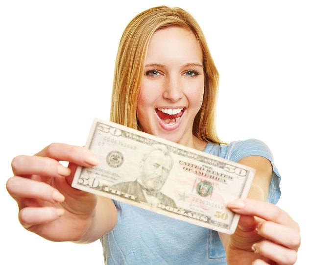 happy lady with money