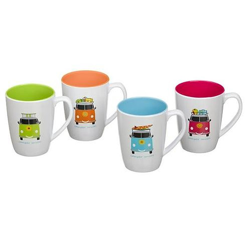 Camper Smiles Campervan Melamine Mugs Set of 4