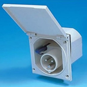 Square Mains Electric Inlet (White)