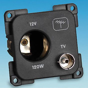 C-LINE 12 VOLT & TV SOCKET - BLACK PO252