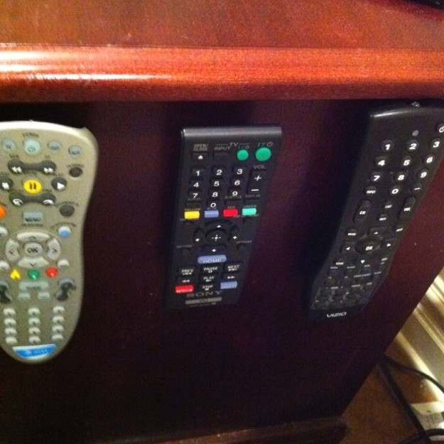 Velcro holders for remotes and phones