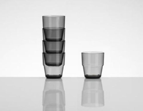 Smokey Grey Plastic Stackable Camping Tumblers (Set of 4)