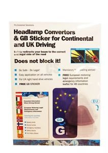 Headlamp Convertors & GB Sticker for Continental Driving