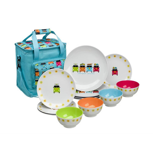 Camper Smiles Campervan 16 Litre Cool Bag + 13 Piece Dinner Set