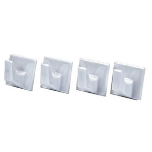 Small Square White Adhesive Hooks x 4