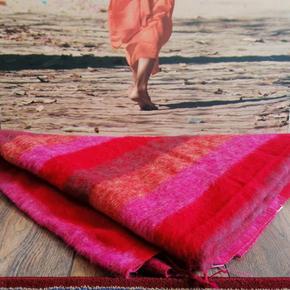 Meditatie omslagdoek XL rood/roze/oranje
