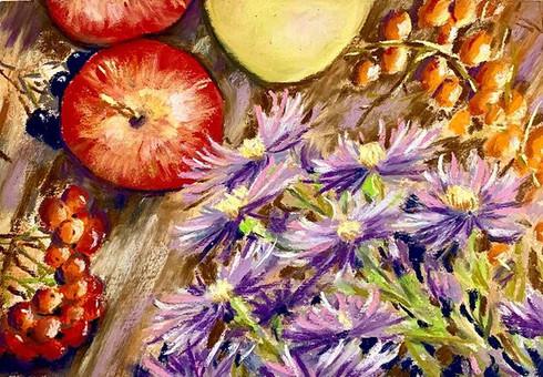 Осенний натюрморт с хризантемами