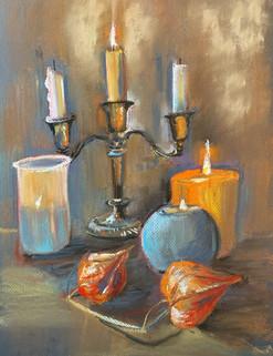 Натюрморт со свечами и физалисом