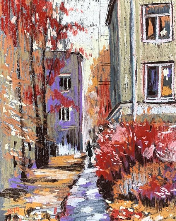 Осень в городе. Дорожка к дому
