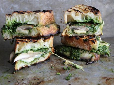 Savory Cheesy Goodness Portobello, Gouda and Pesto Grilled Cheese Sandwich