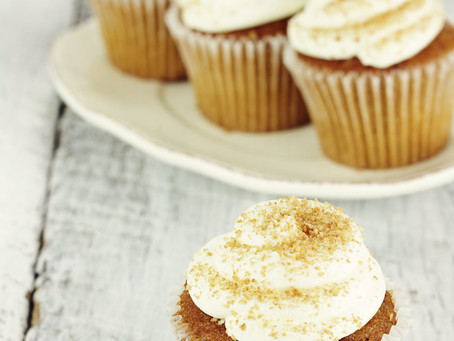 The warm flavors of pumpkin and eggnog mingle gorgeously in these simple but elegant little cupcakes