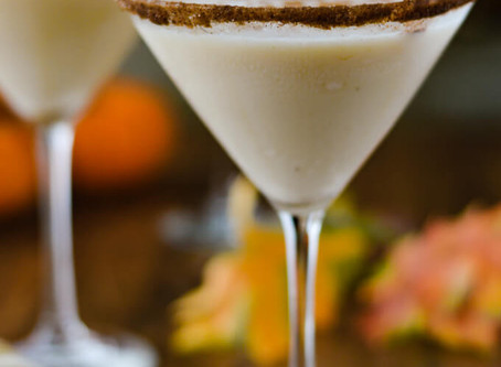 The flavors of Pumpkin Spice Eggnog in a martini glass!