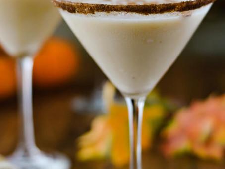 The flavors of Pumpkin Spice Eggnog in a martini glass!