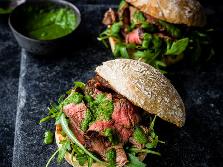 Portuguese Steak Sandwich with Green Basil/Parsley Pesto is a dad worthy sandwich on Father's Day.