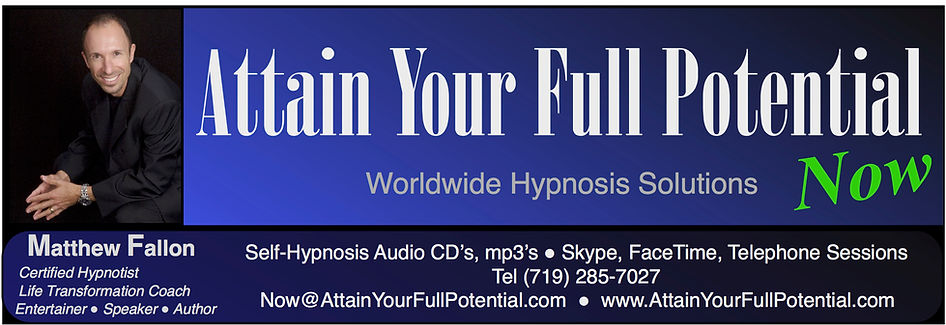 Matthew Fallon, certified clinical hypnostist & life transformation coach.  Ignite massive positive, lasting, change!