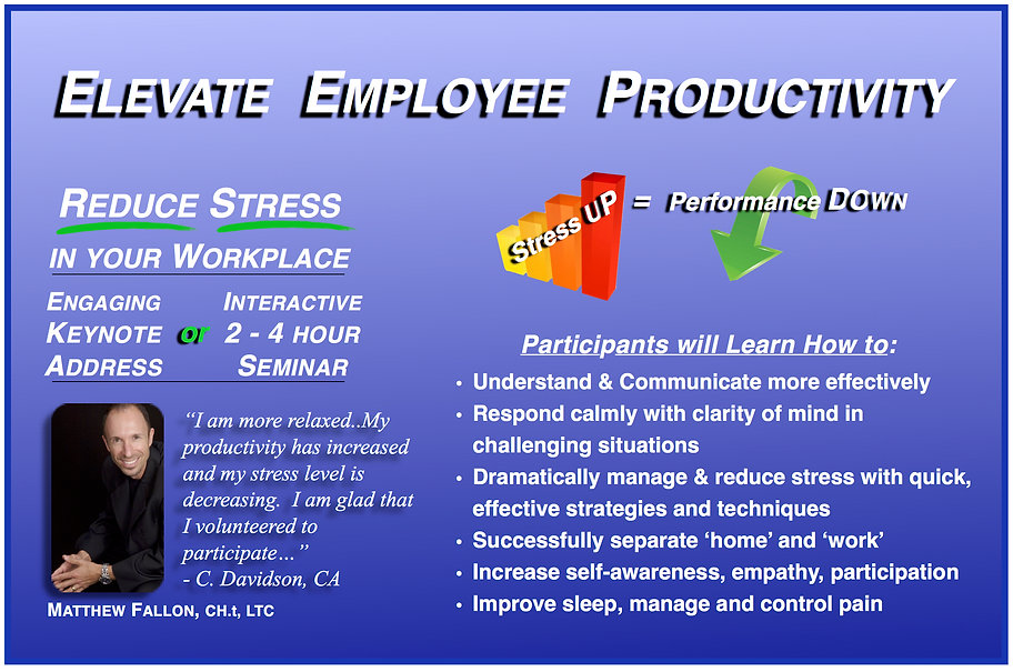 Matthew Fallon's Effective and Lasting Training - Reduce Stress in Your Workplace.  Stress Reduction Training.  Attain Your Full Potential Now