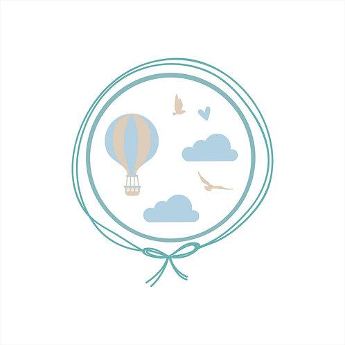Cueiro em Malha Algodão Jacquard - Voo de Balão Azul