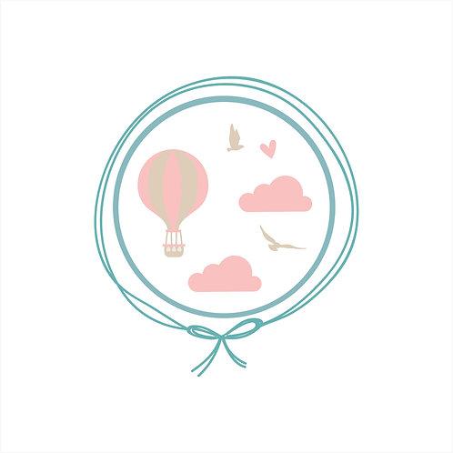 Naninha Plush com Urso - Voo de Balão Rosa