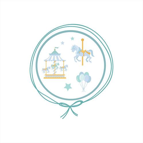 Cueiro em Malha Algodão Jacquard - Carrossel Azul