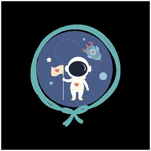 Kit Tricot Manta Bebê + Naninha com Ursinho - Astronauta Azul