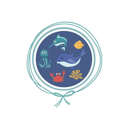 Manta Algodão Suedine Bebê - Fundo do Mar Azul