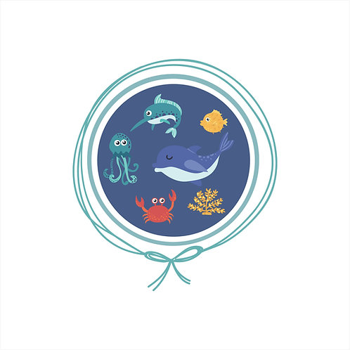 Saída Maternidade Tricot - Fundo do Mar Azul