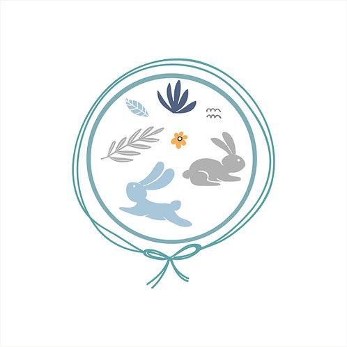 Manta Tricot Solteiro - Coelho Azul